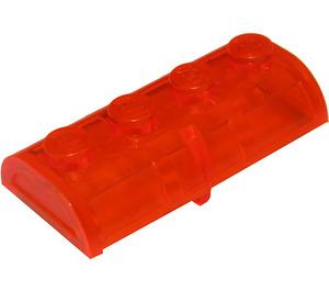LEGO Transparent Neon Reddish Orange Treasure Chest Lid 2 x 4 with Thick Hinge (4739)