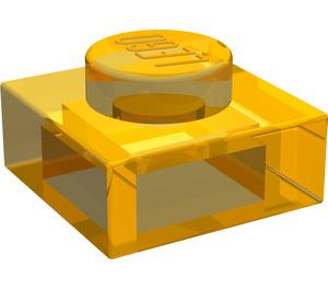 LEGO Transparent Neon Yellow Plate 1 x 1
