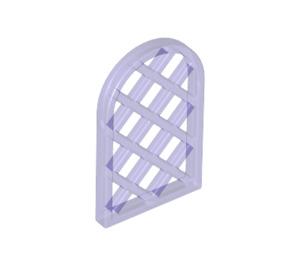 LEGO Transparent Purple Window 1 x 2 x 2.667 Pane Lattice Diamond with Rounded Top (30046)
