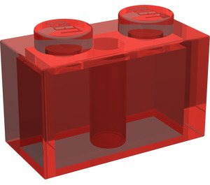LEGO Transparent Red Brick 1 x 2 (3004)