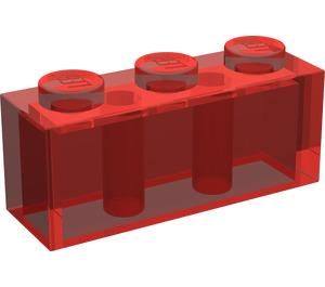LEGO Transparent Red Brick 1 x 3 (3622)