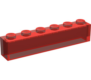 LEGO Transparent Red Brick 1 x 6 without Centre Studs (3067)