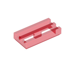 LEGO Transparent Red Tile 1 x 2 Grille (with Bottom Groove) (2412 / 30244)