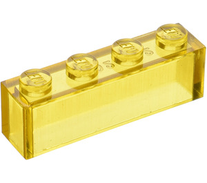 LEGO Transparent Yellow Brick 1 x 4 without Bottom Tubes (3066)