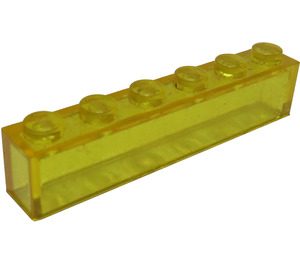 LEGO Transparent Yellow Brick 1 x 6 without Centre Studs