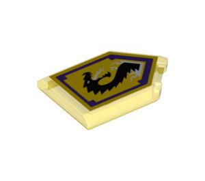 LEGO Transparent Yellow Tile 2 x 3 Pentagonal with Storm Dragon Power Shield (24580)