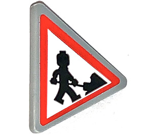 LEGO Triangular Sign with Clip with Construction Site Sign Sticker (30259)