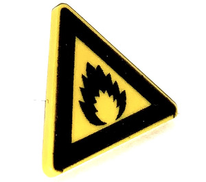 LEGO Triangular Sign with Clip with Extremely Flammable (Flame) Decoration (30259)