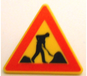 """LEGO Triangular Sign with Clip with """"Men at Work"""" (30259)"""