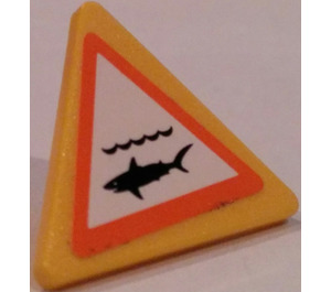 LEGO Triangular Sign with Clip with Shark Warning Sticker (30259)