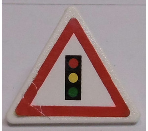 LEGO Triangular Sign with Clip with Traffic Light Sticker (30259)