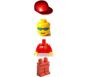LEGO Truck Driver Ferrari Team with Torso Sticker Minifigure
