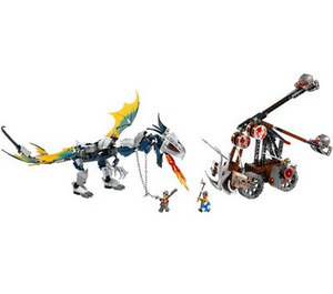LEGO Viking Double Catapault versus the Armoured Ofnir Dragon Set 7021