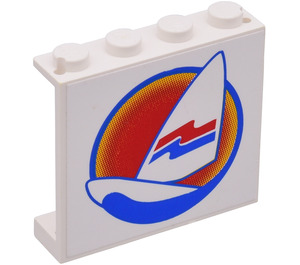 LEGO Wall 1 x 4 x 3 with Surfboard & Wave Sticker from Set 6595 (4215)