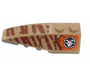 LEGO Wedge 2 x 6 Double Left with Alien Skull and Tiger Stripes Sticker (41748)
