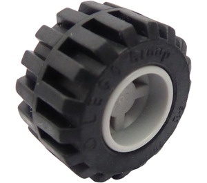 LEGO Wheel Rim Wide Ø11 x 12 with Notched Hole with Tire 21mm D. x 12mm - Offset Tread Small Wide with Band Around Center of Tread (6014)