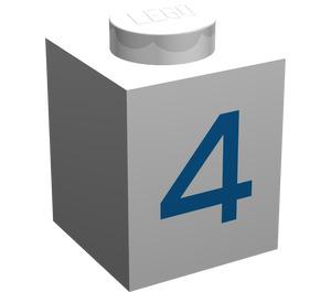"LEGO White Brick 1 x 1 with Blue ""4"""