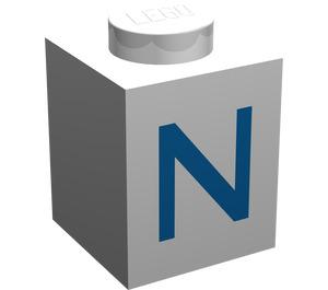 "LEGO White Brick 1 x 1 with Blue ""N"""