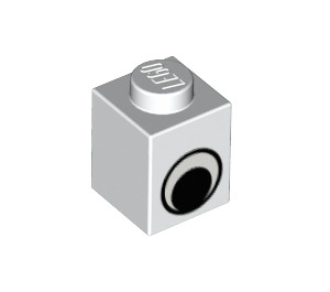 LEGO White Brick 1 x 1 with Eye without Spot on Pupil (84014)