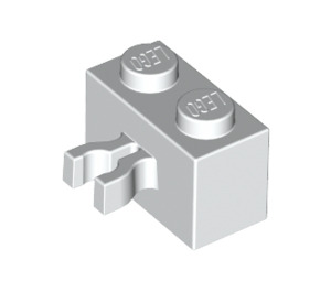 LEGO White Brick 1 x 2 with Vertical Clip (Gap in Clip) (30237)