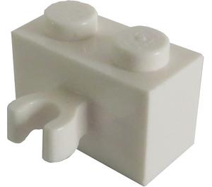 LEGO White Brick 1 x 2 with Vertical Clip (Open 'O' clip) (30237 / 42925)