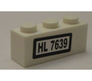 LEGO White Brick 1 x 3 with 'HL 7369' Sticker