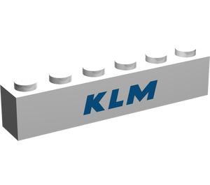 "LEGO White Brick 1 x 6 with ""KLM"""