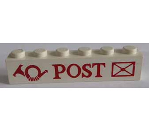 """LEGO White Brick 1 x 6 with """"POST"""" and Logo with Envelope"""
