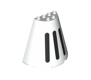 LEGO White Cone 8 x 4 x 6 Half with black stripes (67892)
