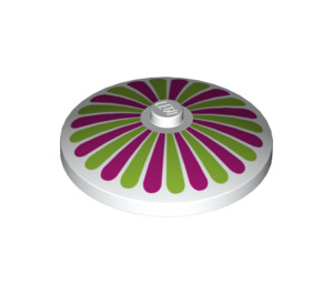 LEGO White Dish 4 x 4 Inverted with Lime and Magenta Stripes Decoration (17160)