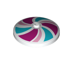 LEGO White Dish 4 x 4 Inverted with Magenta, Bright Pink and Medium Azure Swirl Decoration (17161)