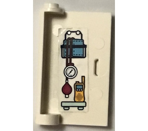 LEGO White Door 1 x 3 x 4 Right with Radio Sticker with Hollow Hinge