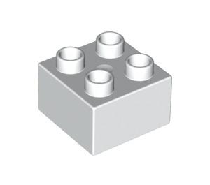 LEGO White Duplo Brick 2 x 2 (3437)