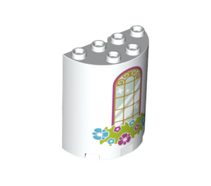 LEGO White Half Cylinder 2 x 4 x 4 with Window and Flowers (24898)
