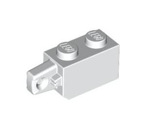 LEGO White Hinge Brick 1 x 2 Locking with Single Finger (Vertical) On End (30364)