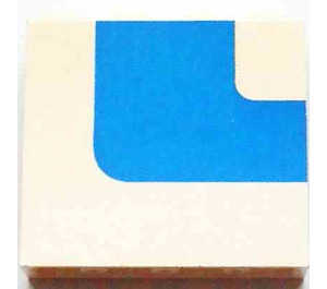 LEGO White Panel 1 x 4 x 3 Right with Blue Stripe without Side Supports, Solid Studs