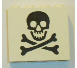 LEGO White Panel 1 x 4 x 3 with Black Jolly Roger without Side Supports, Solid Studs