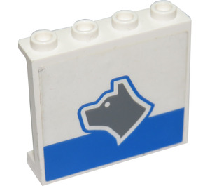 LEGO White Panel 1 x 4 x 3 with Sticker from Set 7744 without Side Supports, Hollow Studs