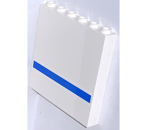 LEGO White Panel 1 x 6 x 5 with Blue Stripe Outside Sticker