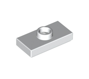 LEGO White Plate 1 x 2 with 1 Stud (with Groove and Bottom Stud Holder) (15573)