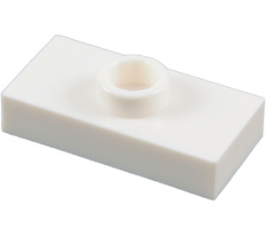 LEGO White Plate 1 x 2 with 1 Stud (without Bottom Groove) (3794)