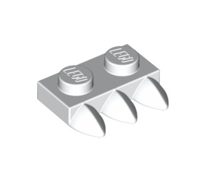 LEGO White Plate 1 x 2 with 3 Teeth (15208)