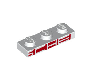LEGO White Plate 1 x 3 with Decoration (25079)