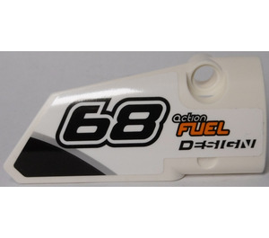 """LEGO White Right Panel 4 with """"68"""" and """"action FUEL DESIGN"""" Sticker"""