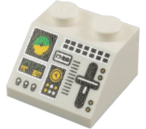 LEGO White Slope 2 x 2 (45°) with Gauges, Switches and Lever (11736 / 55068)