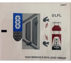 LEGO White Sticker Sheet for Set 75037 (16341)