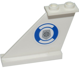 LEGO White Tail 4 x 1 x 3 with Police Badge and Life Ring (Right) Sticker