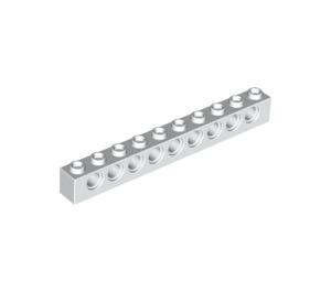 LEGO White Technic Brick 1 x 10 with Holes (2730)