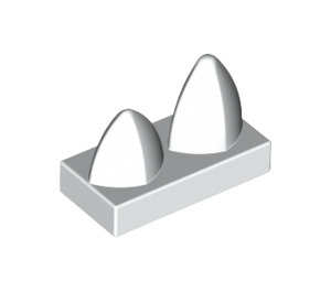 LEGO White Tile 1 x 2 with 2 Vertical Teeth (15209)