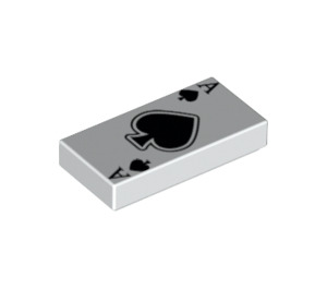 LEGO White Tile 1 x 2 with Ace of Spades Card Pattern with Groove (18710)